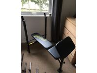 Weight bench with preacher curl attachment, weights and lots more
