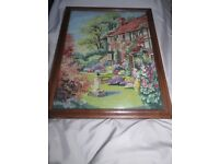 Vintage needlework cottage picture framed