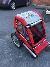 SOLD! Bike trailer child buggy red canvas vgc