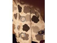 Large curtains eyelet, lined, cream/browns leaf pattern 168x228