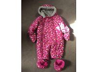 Baby girls snowsuit 9-12 months