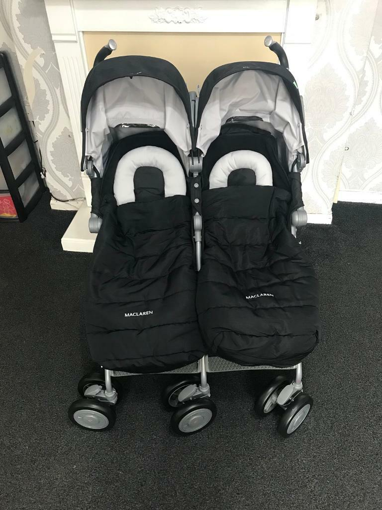 ***brand new unused*** Maclaren twin techno pram +rain cover