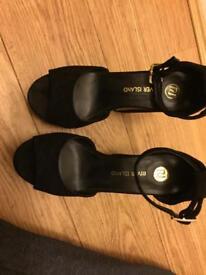 River Island Black Wedge Heels Size 4