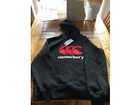 Black mens' Canterbury hoodie - new with tag. Size medium.RRP £ 42.00