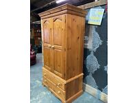 Stunning Chunky Solid Pine Large Wardrobe with drawers - Uk Delivery