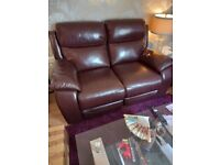 Brown leather 2 seater setee recliners
