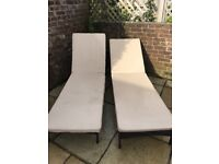 Rattan garden furniture cream sun beds Rrp £250!