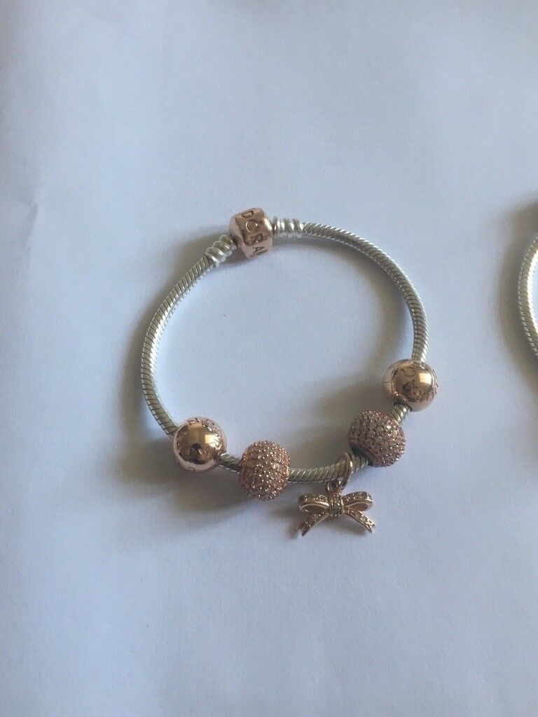 Pandora Rose Gold Bracelet With Charms 17cm