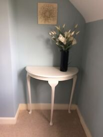 Demi lune, half moon console table painted vintage ivory