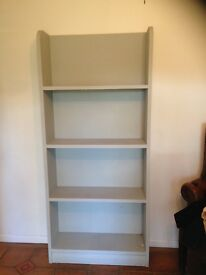 Tall book case, shelves painted French grey solid