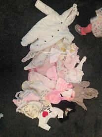 Baby Girls Baby Grows, Bibs and Hats