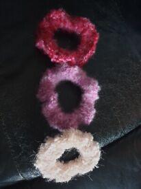Brand New 3x Handmade Hair Scrunchies In Pink/Purple.
