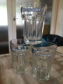 SET OF 3 HOEGAARDEN HALF PINT BEER GLASSES