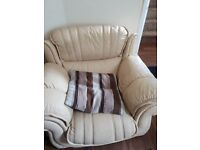 Creamy leather set two seat sofa and armchair, no tear/ marker ready to collect.