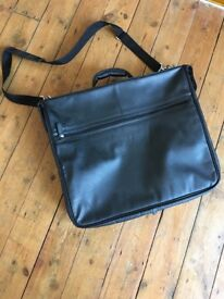 Black faux leather suit carrier, shoulder bag