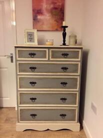 Vintage upcycled very solid tallboy chest of drawers in anthracite and cream finish