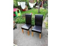 4 dining chairs, dark brown faux leather