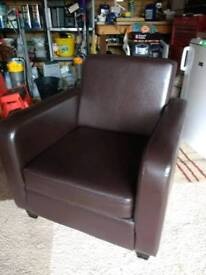 ARMCHAIR - FINISHED IN BROWN FAUX LEATHER
