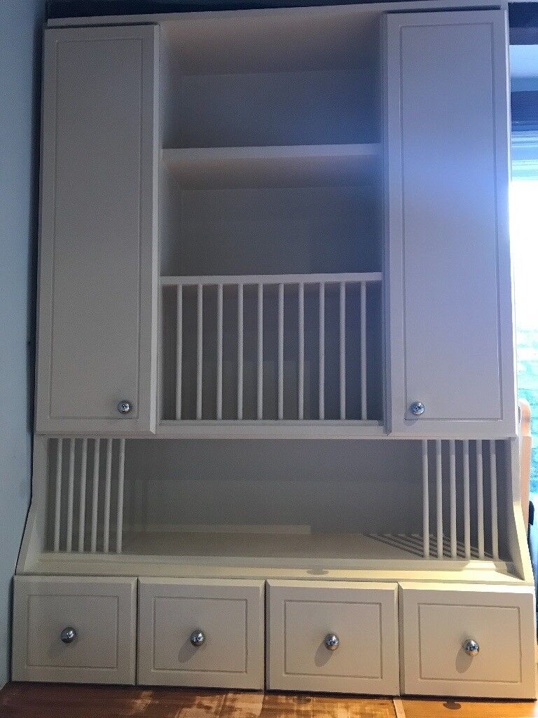 Wall Mounted Plate Rack Crockery Cabinet With Four Drawers Kitchen Storage
