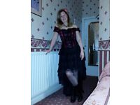 LADIES BURLESQUE DRESS BONED & LACED SIZE 10 12 14