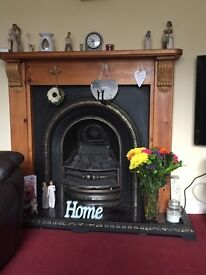 Cast iron fire insert & wooden surround