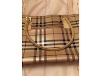 Gold tartan handbag