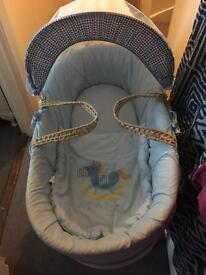 Moses basket and toy bar