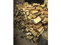 Hardwood logs split fire wood