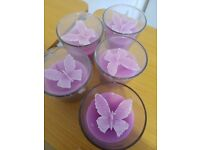 Pale purple butterfly candles glass wedding decoration 5 new