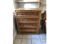 Chest of drawers - cane with glass top. 5 drawers