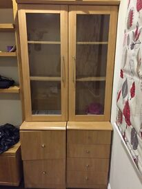 Filing cabinet, drawers and glass cupboard - all one unit in 3 parts
