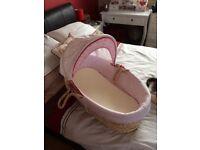 Pink moses basket (NO STAND)