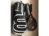 Wilson tennis racket bag with rackets and Wilson hammer racket
