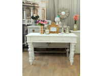 Lovely shabby chic solid pine desk/console table with two drawers