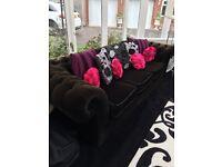Black/brown velvet chesterfield 3 to 4 seater sofa