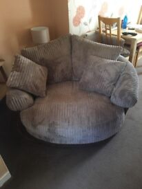Harvey's snuggle chair(love seat) - two person swivel sofa chair in brown fabric