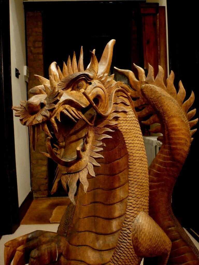 Large old carved wooden dragon great display shop