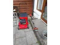 Harry petrol push lawnmower and strimmer