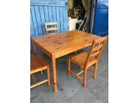 Ikea JOKKMOKK Wooden Dining Table & 3 Chairs Solid Pine Antique Stain.