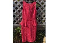 Pink bright tight cocktail dress with sequences, size 8