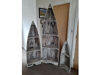 Set of 3 Shabby Chic boat shelving units