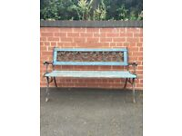 Cast Iron & Wood Garden Bench Lions Head Motif. Garden Decor As Is Or Refurbish.