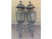 Coach lamps, antique, 100 years old, brass and etched glass, 85cm high