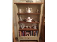 Next oak and cream hand painted bookcase. Shelved. Lovely for displaying items or books.