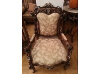 DELUXE ITALIAN RED ROSE PATTERN STYLE ANTIQUE SOFA SETTEE SALON CHAIR ONLY £200