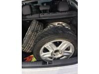 4 alloy wheels with 4 good tyres