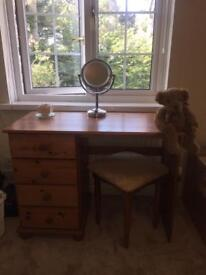 Solid pine quality dressing table & stool
