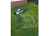 Mizuno golf clubs, bag, trolley, balls, teas etc