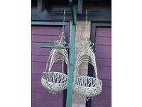 A PAIR OF VERY ORNATE, LARGE HANGING BASKETS