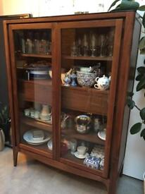 Beautiful Walnut Display Cabinet In Great Condition